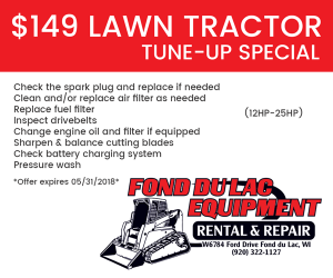 $149 Lawn Tractor Tune-up Special