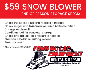 $59 Snow Blower End Of Season Storage Special